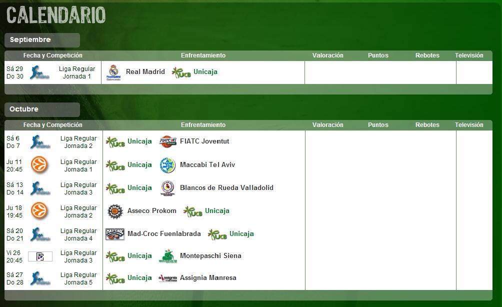 Calendario Unicaja.Calendario Unicaja Baloncesto Malaga Temporada 2012 2013 El Rincon